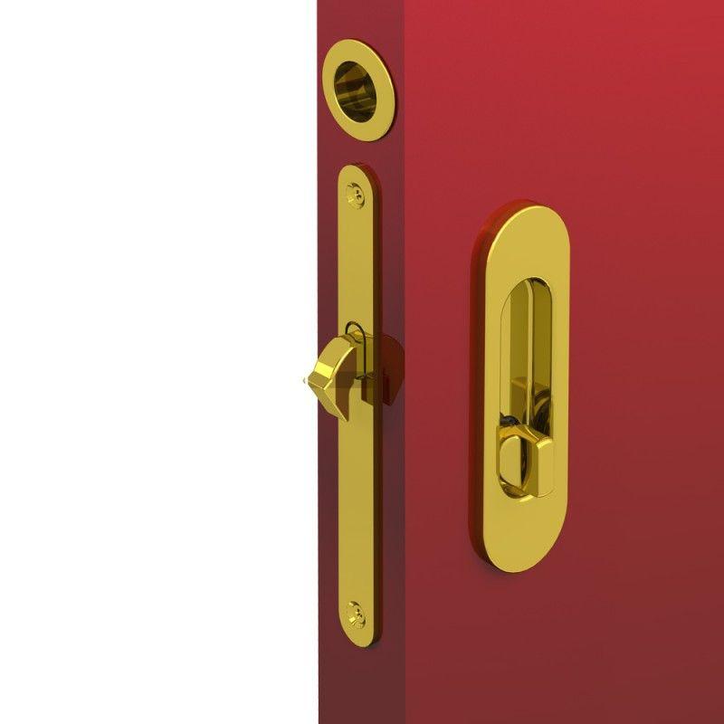WC Hakenschloss Set Für Schiebetüren, Ovale Türrosette Mit Griffmulde,  Badezimmerschloss, Einsteckschloss, Gold