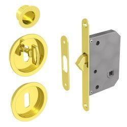 Hakenschloss Set für Schiebetüren, mit Schlüssel, runde Türrosette mit Griffmulde, gold