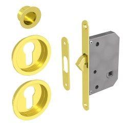 Einsteckschloss Set für Schiebetüren, geeignet für Zylinder Yale, gold (ohne Zylinder)