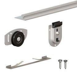 Schiebetürbeschlag SLID'UP 130, Laufschiene 120 cm, 2 Türen bis 70 kg, für Schränke, Kleiderschränke, Wandschränke